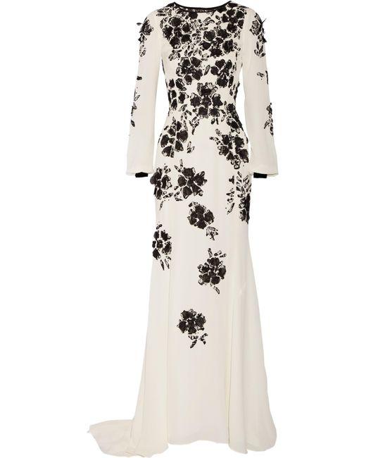 Oscar de la Renta | White Floral-appliquéd Silk-crepe Gown | Lyst