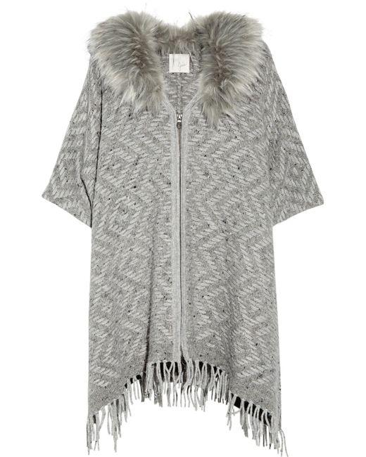 Joie | Gray Purnima Oversized Faux Fur-trimmed Woven Wool-blend Sweater | Lyst