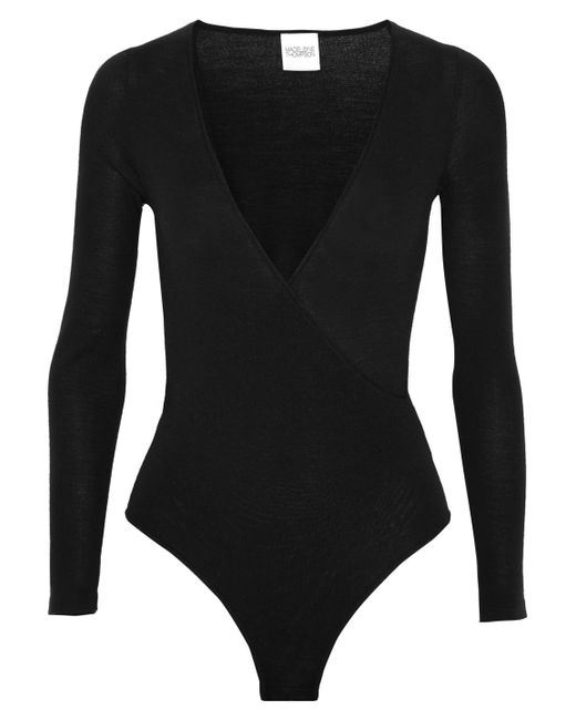 Madeleine Thompson - Black Petra Wrap-effect Wool And Cashmere-blend Bodysuit - Lyst