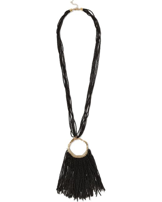 Kenneth Jay Lane - Black Gold-tone Beaded Necklace - Lyst