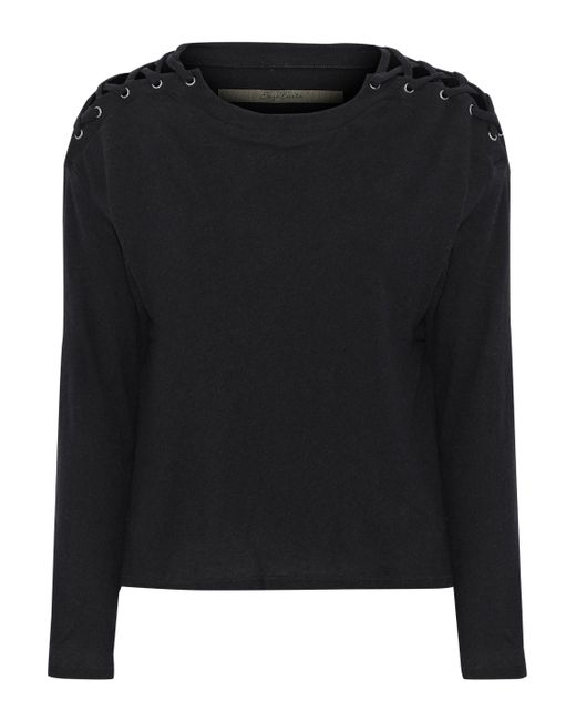 Enza Costa - Black Lace-up Cotton And Cashmere-blend Top - Lyst