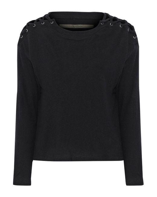 Enza Costa - Black Lace-up Mélange Cotton And Cashmere-blend Top - Lyst
