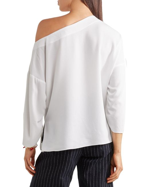 c2c72872ef0 Tibi Woman Lace-up One-shoulder Crepe Top White in White - Save 13 ...