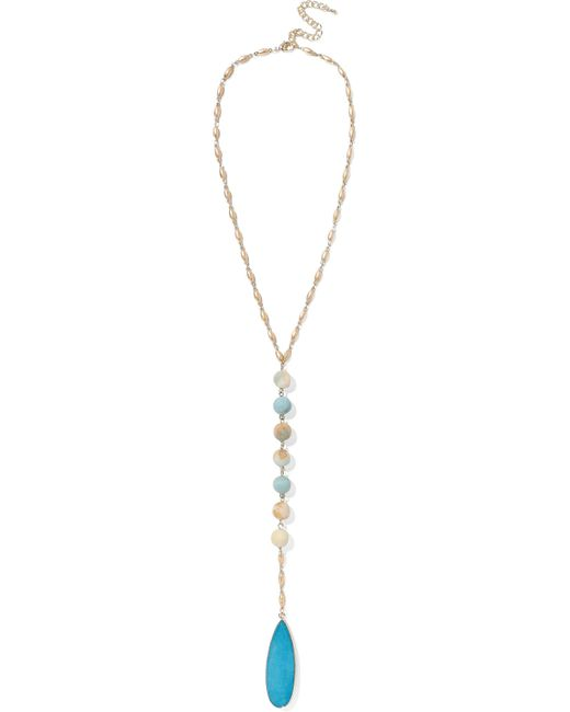 Kenneth Jay Lane - Blue Gold-tone, Bead And Stone Necklace - Lyst