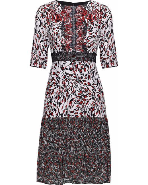Saloni - Red Vera Printed Silk Crepe De Chine And Pleated Chiffon Dress - Lyst