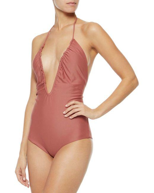 e6d0c5988d ... Mikoh Swimwear - Pink Woman Luana Ruched Halterneck Swimsuit Antique  Rose - Lyst ...
