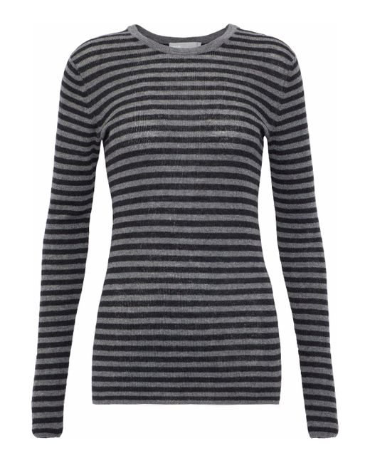 Vince - Gray Ribbed Striped Cashmere Top - Lyst