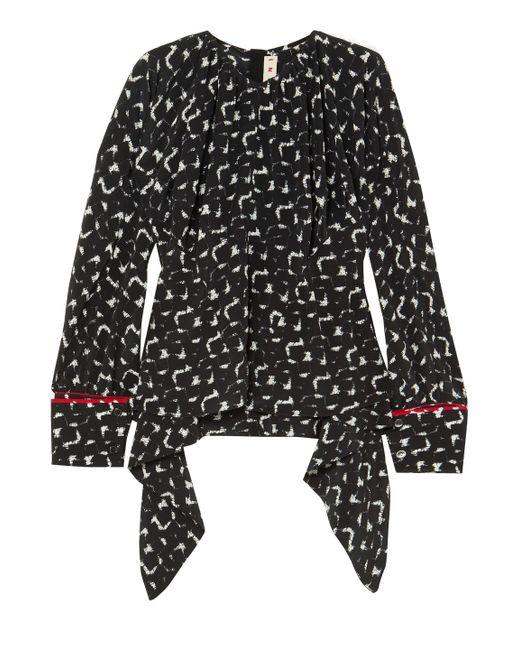 07a740d1bde281 Marni - Woman Gothica Asymmetric Printed Silk Crepe De Chine Blouse Black -  Lyst ...