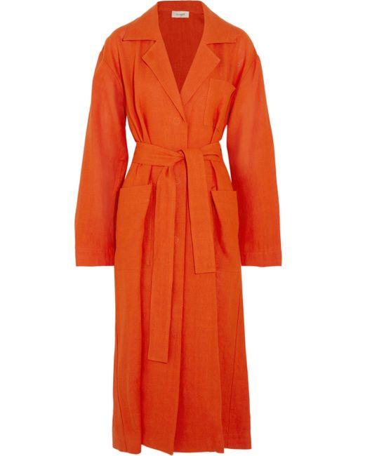 Isa Arfen - Orange Safari Linen Coat - Lyst