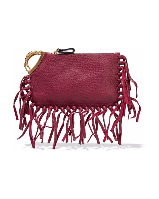 Valentino - Red Fringed Leather Clutch - Lyst