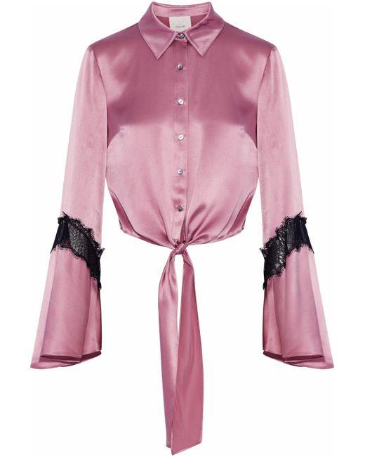 Cinq À Sept - Pink Genevieve Tie-front Chantilly Lace-trimmed Silk-satin Shirt - Lyst