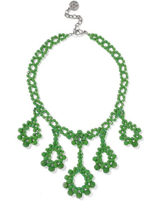 Ben-Amun - Green Beaded Silver-tone Necklace - Lyst