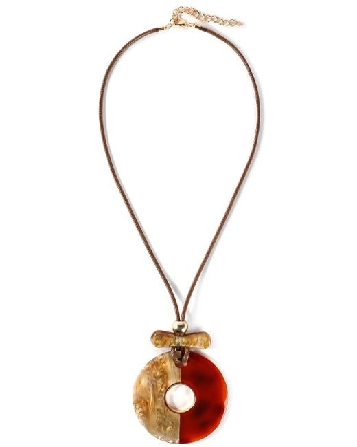 Kenneth Jay Lane - Woman Gold-tone, Cord And Resin Necklace Light Brown - Lyst