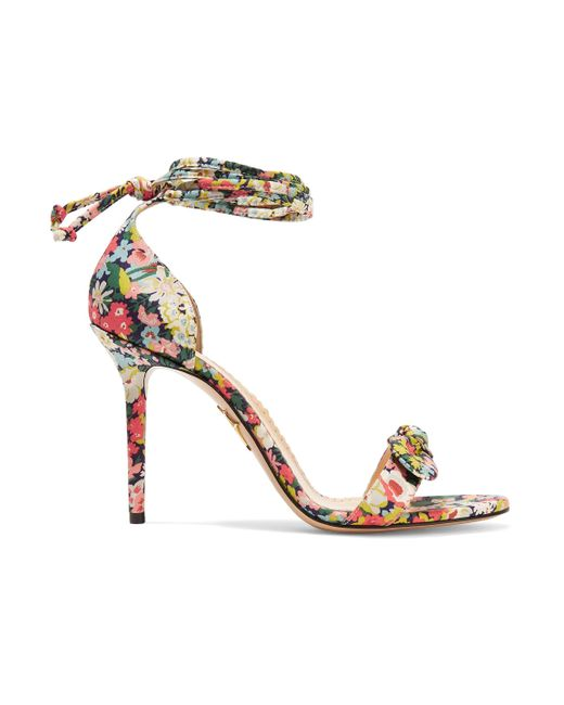 Charlotte Olympia - Multicolor Shelley Bow-embellished Printed Cotton Sandals - Lyst
