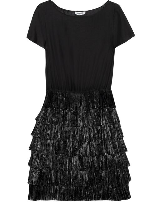 Boutique Moschino | Black Raffia-trimmed Cotton And Silk-blend Dress | Lyst