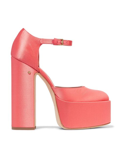 Laurence Dacade - Pink Lilas Satin Platform Pumps - Lyst