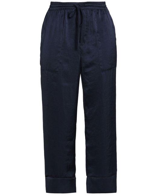 Joie - Woman Satin Straight-leg Pants Midnight Blue - Lyst