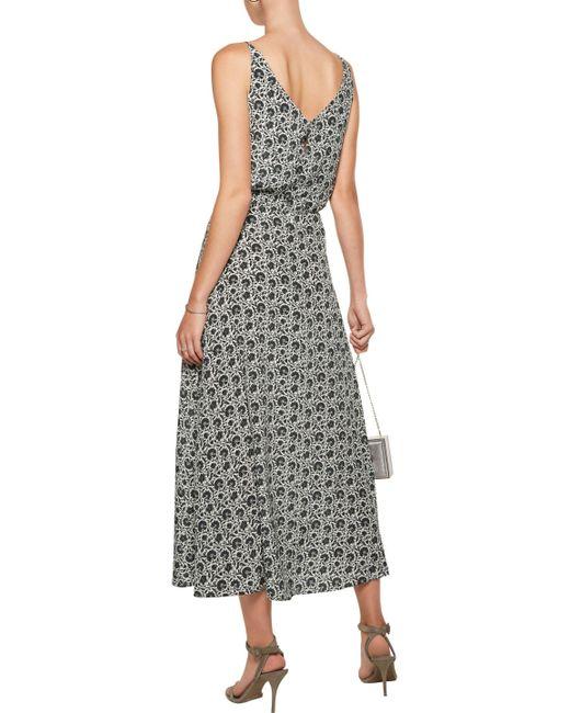 ... Zimmermann - Gray Gathered Floral-print Silk-satin Midi Dress - Lyst ...