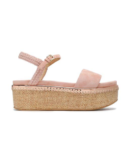 Stuart Weitzman - Pink Suede Platform Sandals - Lyst