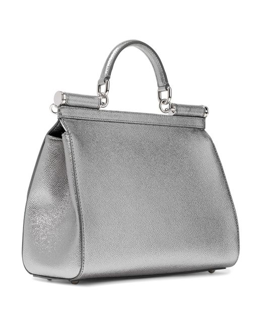 6d83ca213c17 ... Lyst Dolce   Gabbana - Woman Metallic Textured-leather Shoulder Bag  Silver ...