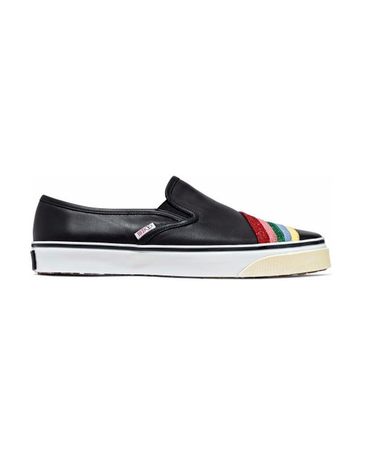 RED Valentino - Black Glittered Leather Slip-on Sneakers - Lyst