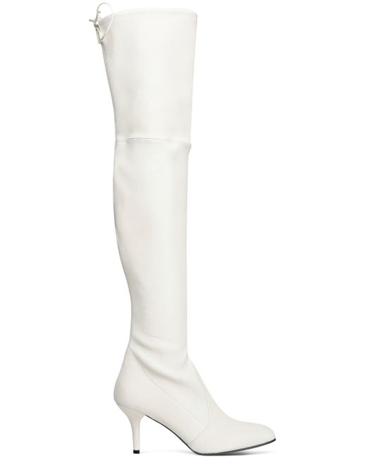 Stuart Weitzman - White Stretch-leather Over-the-knee Boots - Lyst
