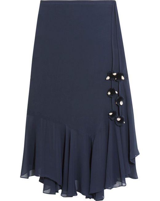 Figue - Blue Maxime Pompom-embellished Silk-georgette Skirt - Lyst
