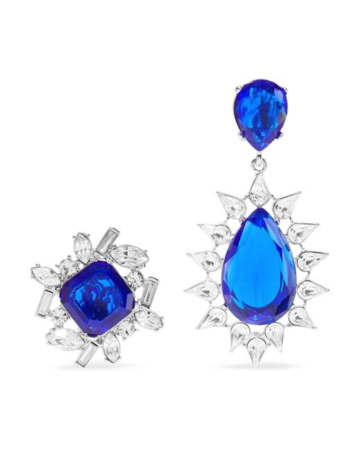 Kenneth Jay Lane - Woman Silver-tone Crystal Clip Earrings Royal Blue - Lyst