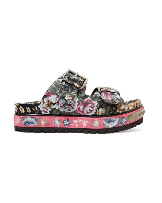 Alexander McQueen - Pink Floral-print Leather Sandals - Lyst