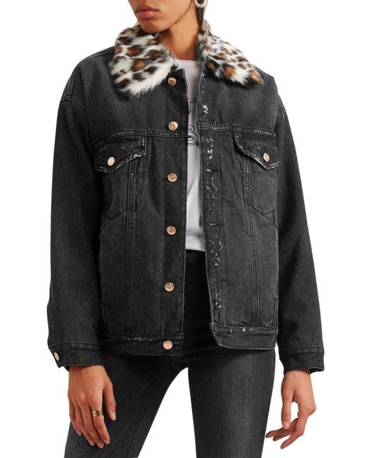 f28d84ad9d ... Steve J   Yoni P - Multicolor Woman Leopard-print Faux Fur-trimmed Denim  ...