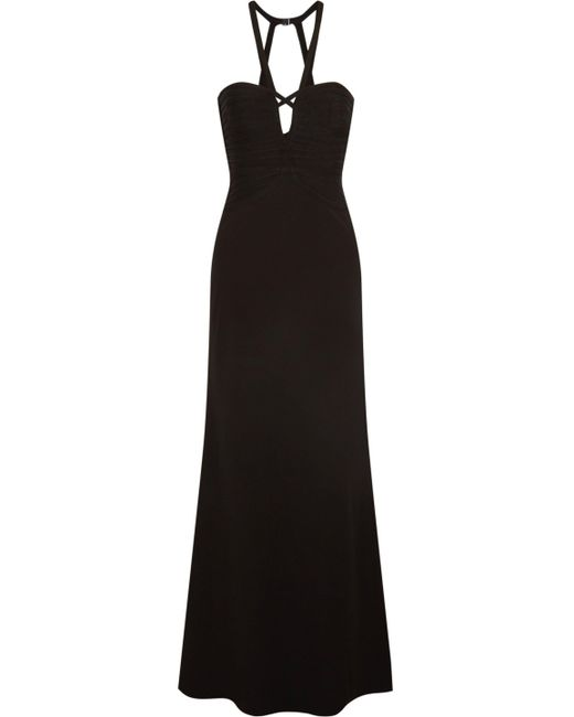 Hervé Léger - Black Noemi Cutout Bandage And Crepe Gown - Lyst