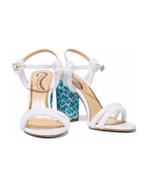 Charlotte Olympia - White Cordelia Bead-embellished Leather And Terry Sandals - Lyst