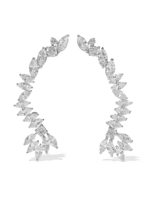 CZ by Kenneth Jay Lane - Metallic Silver-tone Crystal Clip Earrings - Lyst