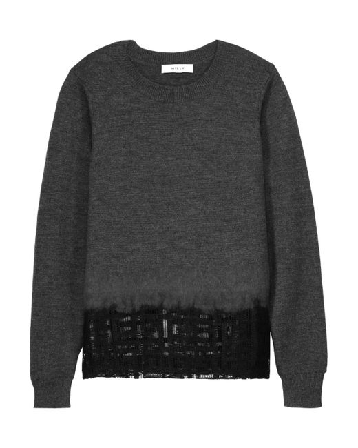 MILLY   Gray Mesh-paneled Wool Sweater   Lyst