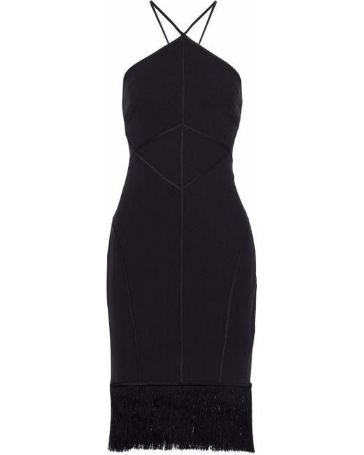 Cinq À Sept - Black Bryn Fringed Satin-trimmed Crepe Halterneck Dress - Lyst