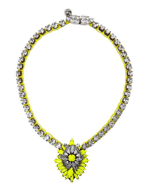 Shourouk | Yellow Cora Bamako Silver-plated Swarovski Crystal Necklace | Lyst