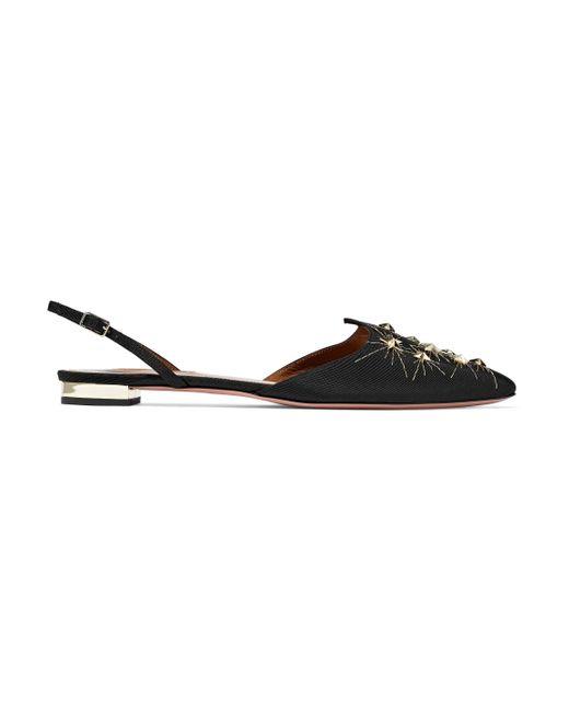 Aquazzura - Black Nairobi Embellished Satin-faille Point-toe Flats - Lyst