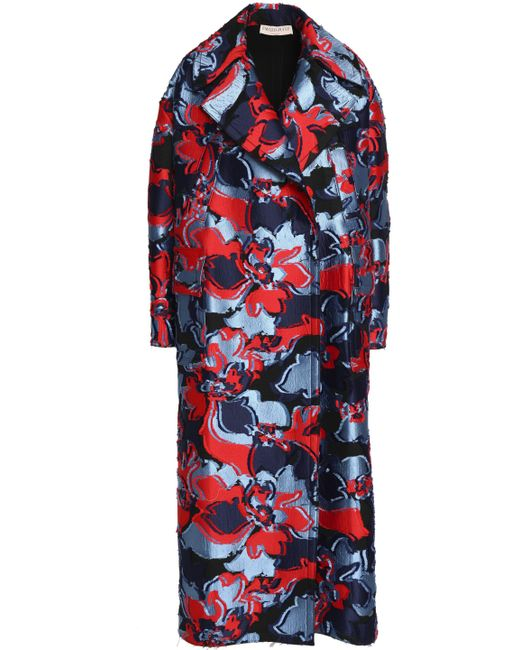 Emilio Pucci - Blue Double-breasted Fil Coupé Wool And Silk-blend Coat - Lyst