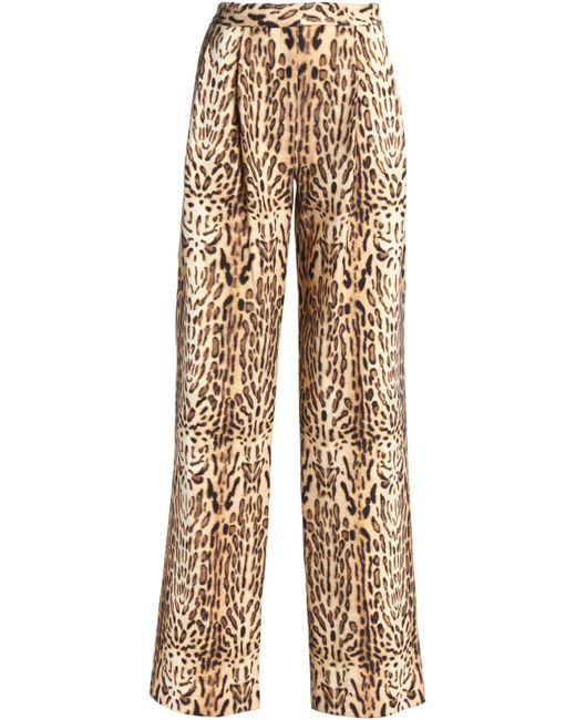 Adam Lippes - Multicolor Leopard-print Wool Wide-leg Pants Animal Print - Lyst