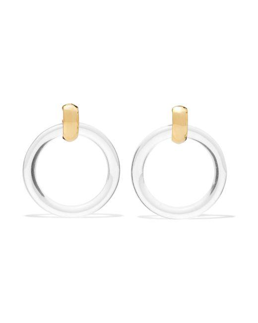 Kenneth Jay Lane - White Resin Gold-tone Clip Earrings - Lyst