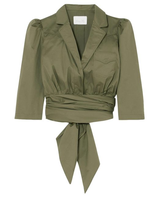 Johanna Ortiz - Woman Oriana Wrap-effect Stretch-cotton Poplin Shirt Army Green - Lyst