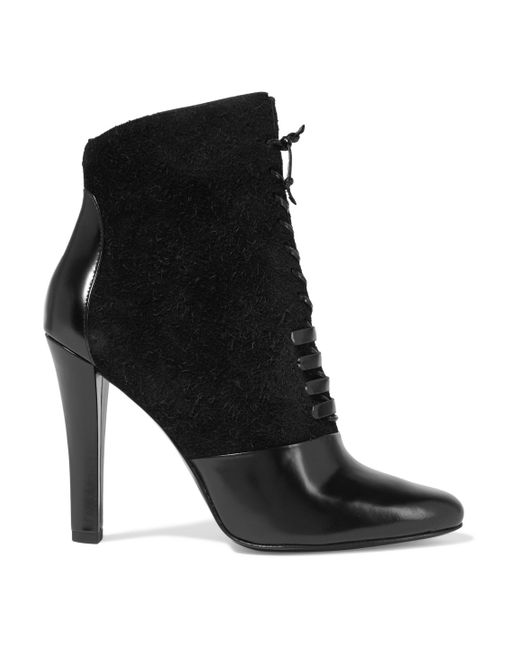3.1 Phillip Lim - Black Harleth Leather And Lace Ankle Boots - Lyst