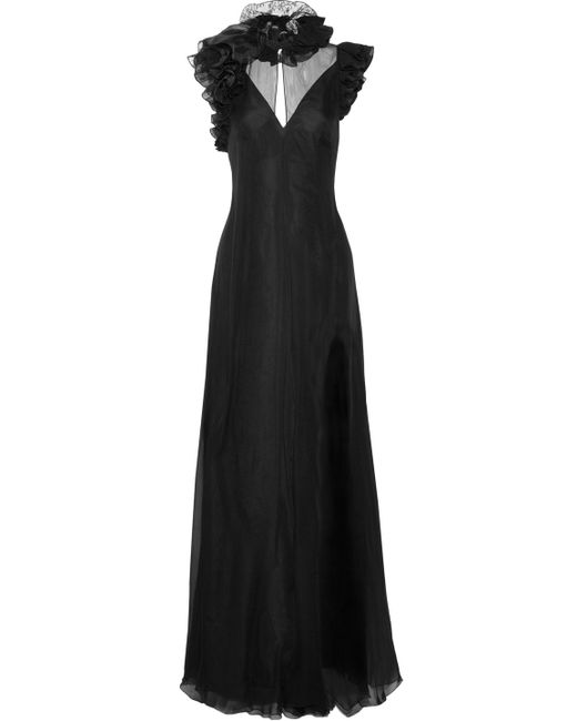 Lanvin - Black Lace-trimmed Ruffled Silk-chiffon Gown - Lyst