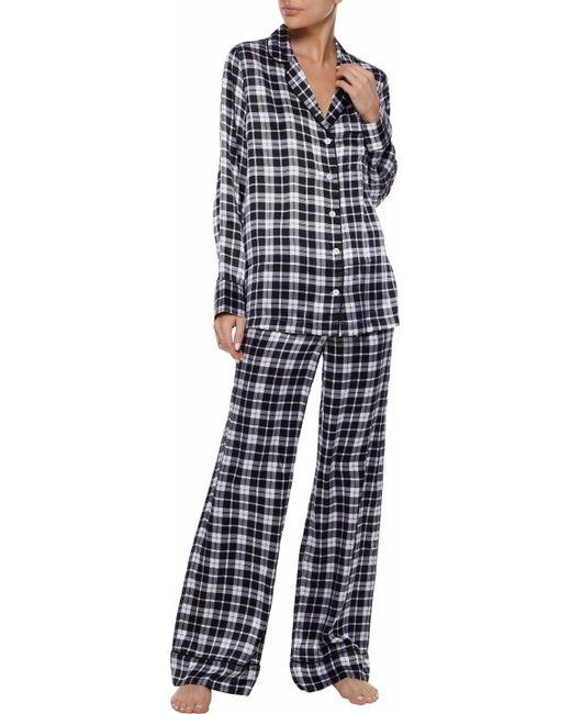 79906daae6 ... Equipment - Woman Avery Checked Washed-silk Pajama Set Black - Lyst ...