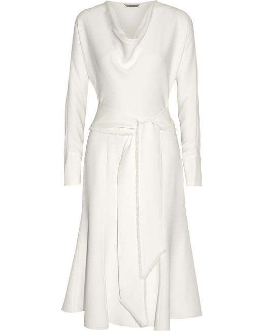 Maiyet   White Belted Silk-crepe Dress   Lyst