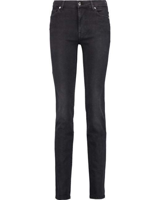 7 For All Mankind | Black Rozie Mid-rise Slim-leg Jeans | Lyst