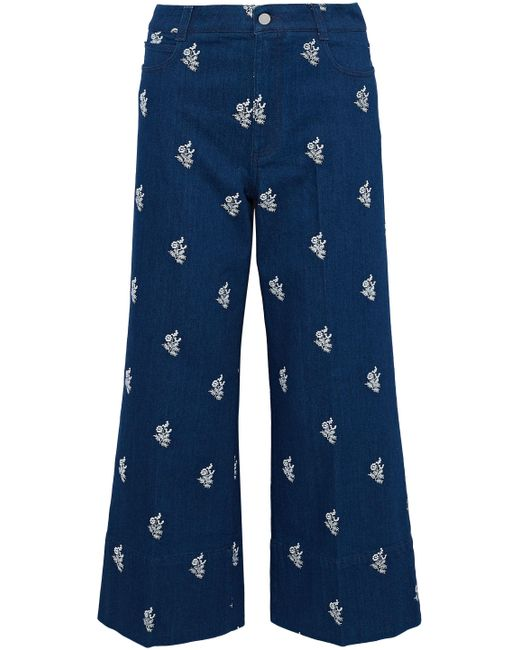 Stella McCartney - Blue Embroidered High-rise Wide-leg Jeans Mid Denim - Lyst