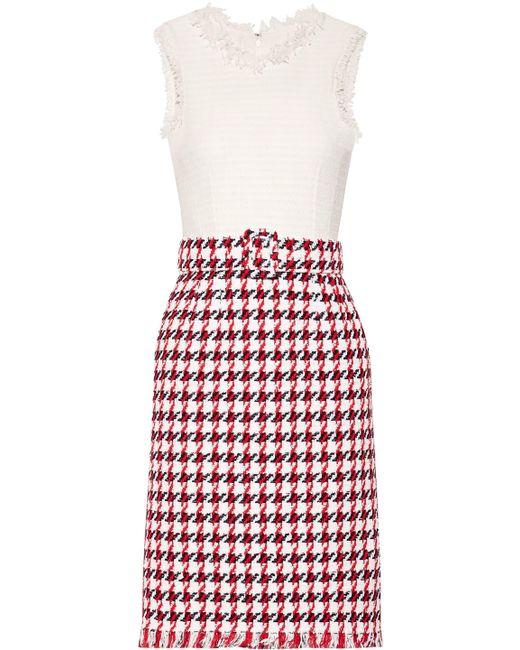 Oscar de la Renta - Red Fringed Houndstooth Cotton-blend Tweed Dress - Lyst