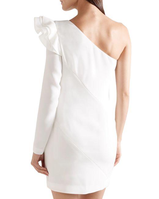 40f5c96e613 ... Rachel Zoe - Woman One-shoulder Ruffled Crepe Mini Dress White - Lyst  ...