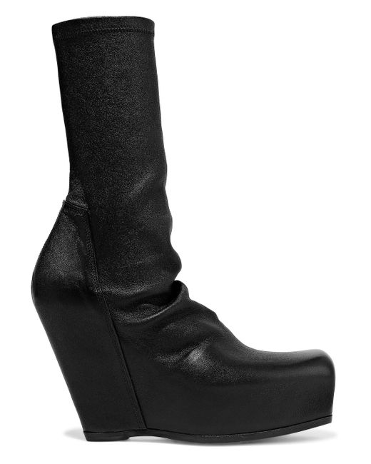 3007dc8c4f47 Lyst - Rick Owens Woman Stretch-leather Platform Sock Boots Black in ...